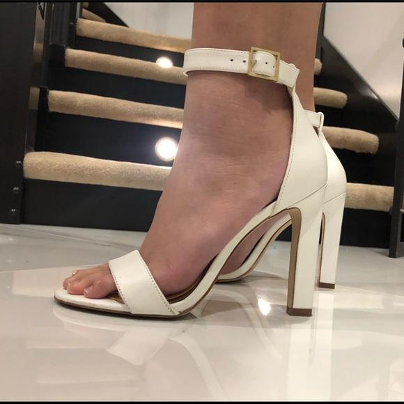 Aldo White Open Toe Heels Size: 6.5